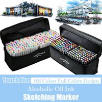 TOUCHFIVE 168 Renkler Yağlı Alkol Tabanlı Sanat Işaretleyicileri Set Çift Başlı Kroki Marker Manga Tasarım Sanat Malzemeleri Için Sanatçı Fırça Kalem Y200709