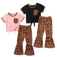 Baby Designer Одежда для одежды Одежда для одежды Детские леопарда Лучшие вспышки Брюки наряда Малышей с коротким рукавом Летние футболки Bell-Dothound LSK509