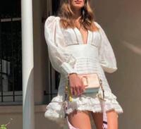Designer Luxe Femmes Runway Robes à manches longues à manches longues V tanière Robes sexy Femmes Slim Short Mini Volant Milan Robe de piste H19