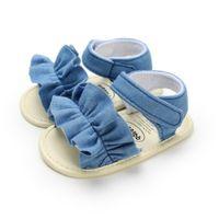 Первые ходунки Weixinbuy летние детские девочки обувь принцесса цветочный бабочка скольжения кроватки кроссовки мягкие подошвы кружевные младенца 0-18м