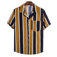 Старинные карманы Флористическая Рубашка Летнее Гавайское Призвание Blusas Мужчины Полосатые Печатные Рубашки Повседневная Короткий Рукав Отворотный Camisa S-3XL