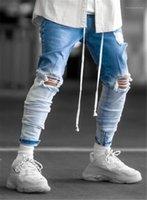 İpli Hiphop Homme Pantolon Gradient Renk Erkek Jeans ile Yıkanmış Erkek Jeans Distrressed Man Kalem Pantolon