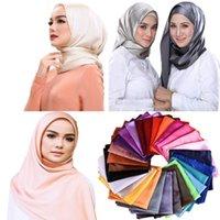 Kadınlar düz saten ipek eşarp düz renk şal saç bandı müslüman hijabs eşarplar eşarp 36 renk sarmak başörtüsü