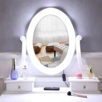 أثاث غرفة نوم أبيض الحديثة المرأة تخزين سيدة تخزين FCH مع ضوء لمبة واحدة مرآة 5 درج خلع الملابس الجدول