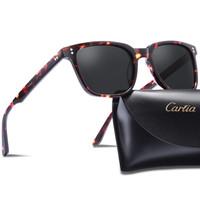 Carfia Chic Retro Polarized Sunglasses para mulheres homens 5354 óculos de sol com caso 100% UV400 Proteção Eyewear Square 51mm 4 cores