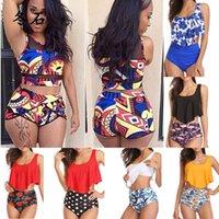 Yüksek Bel Bikini Kadınlar Plus Size Bikini Seti 2020 Mujer Mayo Afrika Büyük İki Adet Tankini Waisted Saç bandı Mayo yazdır