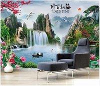wallpapers Foto feita sob encomenda para paredes 3d estilo chinês idílica cascata paisagem paisagens quarto fundo TV pintura de parede paisagem mural