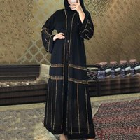 MD Negro Abaya Dubai Turquia Muçulmana Hijab Vestido 2020 Caftan Marocain Arabe Roupas Islâmicas Quimono Femme Musulmane Djellaba S9017