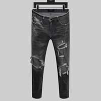 Mens Designer Jeans Moda de Slim Fit Lavados Motocycle Denim Pants painéis hip hop Calças New estilo dos homens de luxo de moda Slim Fit calças de brim