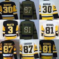 2018 Pittsburgh 87 Sidney Crosby 81 Phil Kessel 3 Olli Maatta 30 Matt Murray para hombre hockey sobre hielo Jersey, 2017 Campeón de la Copa Stanley Patch