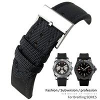 22mm de qualité supérieure en nylon Tissu Toile Bracelet Pour Breitling Avenger cuir noir Bracelet en acier de 20 mm Boucle aiguille pour hommes Outils gratuits