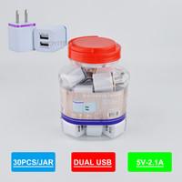 cargador de pared con doble puerto USB cargador de 2.1A en frasco de plástico de cualquier teléfono móvil con el adaptador de pared puerto USB dos marco colorido
