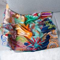 Twill 100% Seide-Schal für Frauen Mode-Druck-Handrolle Schal Weiblich Kerchief 90 * 90cm Quadrat-Schal-Stirnband Schal für Damen CX200727