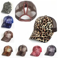 Mesh Ponytail Hat Leopard Camo Baseball Cap Unisex Hollow Cr...