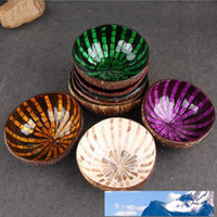 도매 베트남어 천연 코코넛 껍질 그릇 장식 나무 저장 보울 손으로 그린 화려한 장식 사탕 그릇 무료 배송