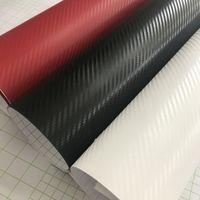 Carbone Noir Blanc Rouge fibre vinyle voiture Wrap feuille avec dégonflage auto-adhésif Moto Scooter bateau autocollant de voiture Emballage 1.52x30m / rouleau