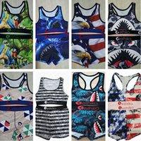 الصيف النساء ملابس السباحة مصمم القرش وجهه قطعة 2 خزان ملابس السباحة العلامة التجارية بيكيني مجموعة الكرتون سترة قمم المحاصيل والسراويل ثياب السباحة ClothD7801
