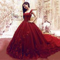 Árabe rojo del hombro Vestidos de novia Vestidos de bolas 2021 con flores 3D Robe de Soiree Lace Vestido de novia Envío gratis Princess
