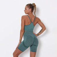Tracksuits Seamless Yoga Sport Outfits Mulheres Dois Peça Set Shorts Manga GymShark Leggings Sólidos Indoor Gym Terno Fitness Sportswear Outdoor Yogaworld Align Pant