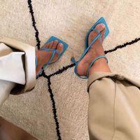 Verão Limite Salto Toe Banda Praça Vintage da bracelete sandálias de salto V-neck desenhista calça Mulheres CX200715