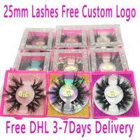 25mm Mink Lash Vendor 30/40/50/100/200 Pairs Eyelash Bulk Mink Lashes Atacado Vendedor Mink Eyelashes Logotipo Personalizado GRÁTIS