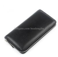 Mulheres Long zipper carteira de couro genuíno caixa original número de série carteiras da bolsa