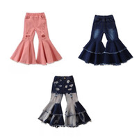 INS Newest Fall Kids Girls Jeans Denim Trousers Fashion Hole...