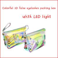 Nuovi soft laser 3D cigli del visone all'ingrosso imballaggio box scatole di ciglia imballaggio logo personalizzato striscia finto caso vuota con luce LED