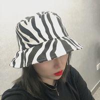 New 12 pcs fashion Zebra pattern stingy brim hats for women canvas unsex printed adult cap