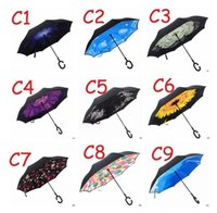 17 Colors Inverted Umbrellas Double Layer Protection C Hook Hands Inside Out Reverse Windproof Upside Down Umbrella Rain Umbrella 777 223