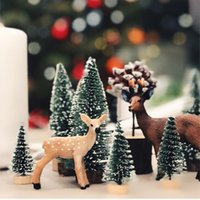 10pcs Mini 10CM Arbre de Noël Décor neige a couvert Pin DIY ornements pour la maison Bar Party