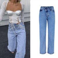 Damen Jeans Sommer Unregelmäßige Hohe Taille Denim Weibliche Fackel Für Frauen Plus Größe Bell Beleuchtung Fett Mom Wide Bein Skinny Frau