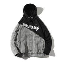 Sudaderas con capucha para hombres STREAMWEET SWEETSHIRT Hip Hop Patchwork Denim Hoodie Hombres Chándal Harajuku Plus Tamaño Imprimir Una pieza