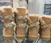 Dorp الشحن جديد أحذية الثلوج الأزياء الأزياء الأزياء الدافئة المرأة القطن الأحذية bowknot الحفر حجم الثلوج