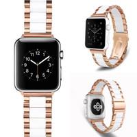 Adecuado para la correa de cerámica de Apple Watch 38mm / 42mm / 40mm / 44mm Serie SE 6 / 5/4/3/2/1 / iWatch Banda de metal de acero inoxidable Oro rosa