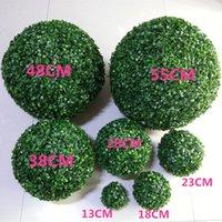 Ny ankomst konstgjord plast silke tyg grön blomma gräs växt boll för trädgård heminredning bröllop julstång fest dekoration