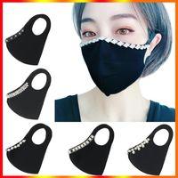 Trendy bling strass máscara de rosto jewlery para mulheres night club festa designer masks anti-névoa impermeável algodão de algodão protetora máscara de boca