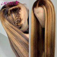 26-Zoll-Ombre Menschenhaar-Perücken Brown Honey Blonde Lace Front Perücken für schwarze Frauen Mi Lisa brasilianische gerade Remy Highlight Perücke