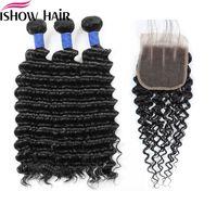 Kinky Enrolado Liso Pacotes de cabelo humano com fecho onda profunda 3Bundles com laço Encerramento 8-28 polegadas Remy Extensões de cabelo humano