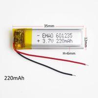 3.7v 220mAh 601235 del Li-polimero batteria ricaricabile Li-Po con il potere borad Protect Per mini altoparlante mp3 Bluetooth GPS DVD Recorder cuffie