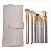 12pcs 18pcs 24pcs Aaluminum Tube Beige Wood Makeup Brushes Set Leather Bag Eye Shadow Foundation Powder Eyeliner Eyelashes Lip Make Up Tools