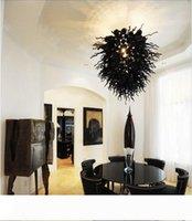 Tabela Preto moderno tampo de vidro Lustre moderno Murano Lâmpada LED 100% de mão soprado lustres de vidro Pingente