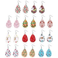 Christmas Faux Leather Earrings Teardrop Long Dangle Earring...