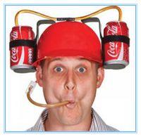 7 ألوان سترو خوذة شرب البيرة قبعة الصودا المزدوج سترو الشرب القبعات حفلة عيد الميلاد لوازم المشروبات حامل أغطية للرأس الحزب