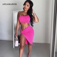 ANJAMANOR Estate 2020 Donna 2 piece set una spalla Bassiera annodata a fessura Short Skirt Set sexy due pezzi Club Outfits D32-AA34 T200716