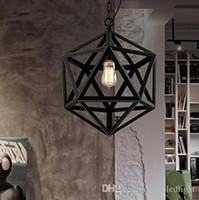 استعادة الأجهزة خمر قلادة مصباح لوفت أضواء قلادة الماس الصلب الشكل المتعدد السطوح مصباح قلادة بار غرفة الاستقبال E27 لمبة