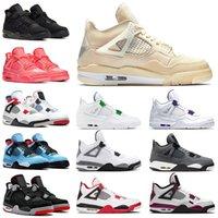sapatos nike air jordan retro Sail 4 off white tênis de basquete aj 4s jumpman iv Sneakers homens mulheres Travis Scott Cactus Jack Bred Black Cat Metallic Pack Hot Punch Trainers