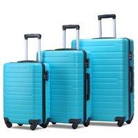 3 bitar av bagage, bärbar ABS-vagn 20/24/28 tums himmelblå, utdragbar 8-hjuls roterande bagage, med teleskophandtag, reseure