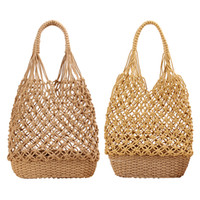 2 Pieces Womens Handmade Straw Shoulder Bag Summer Knit Purs...
