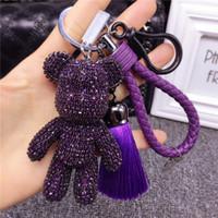 Роскошные горный хрусталь хрусталь кристалл Crystal Bear носить очки пентаграммы кросс бомгума медведей брелок автомобиль ключ кольца подвеска T200804